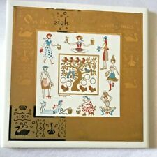 Berggren Tile Eighth Day of Christmas Swedish Folk Art Ceramic 6x6