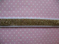 "10y Glitter 3/8"" Elastic Ribbon For Headbands-Gold L014-1"