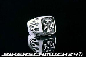 Ring Eisernes Kreuz mit geschwärzten Flammen Iron Cross 925 Silber Bikerring NEU