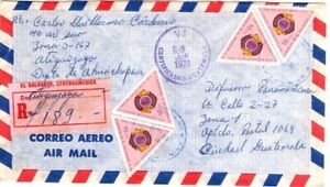1973 El Salvador Registered Airmail Cover to Guatemala with 6 stamps - Triangles