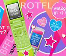 TECHIE GIRL Texting Cell Phone Twitter Wallpaper Border