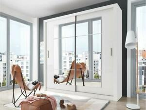 White matt wardrobe CLEO 32 180cm - 2 sliding mirrored doors
