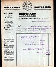 """PARIS (XIV°) MOTEURS Electriques UNIVERSELS """"BERTRAND"""" en 1930"""