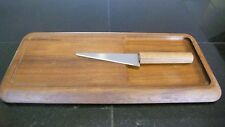 Vtg  Cheese Board  w/ Knife Teak Wood Mid Century Modern