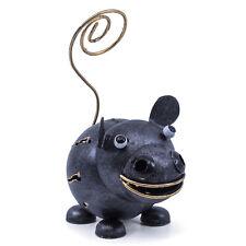 "Hand Crafted Hippopotamus Hippo Figurine Sculpture 4.25""H Cute Tin Metal Animal"
