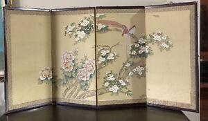 Vtg Asian Chinese Oriental silk Painting folding 4 panel framed divider wall art