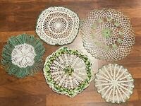 "Crochet~Lace~Doilies/Doily~Green & White~~Lot Of Five~Various sizes 10""-14"""