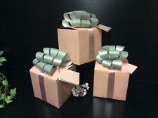 PINK-SILVER BOW GIFT BOX WITH GIFT TAG & RIBBONS. CHRISTMAS BIRTHDAYS 10x10x10cm