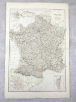 1882 Antico Map Francia Francese Province Dipartimenti Originale 19th Secolo