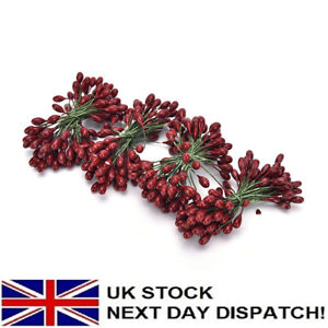 100x Artificial Red Holly Berry On Wire Bundle Garland Wreath Making Christm^dm