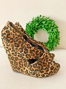 PINK DUCHESS Leopard Cheetah women Wedges Platforms High Heels Shoes Sz 9 👣ks4