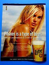 """Rebecca Romijn Stamos 1999 Miller Lite Beer Original Print Ad-8.5 x 11"""""""