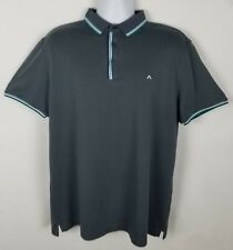 J.Lindeberg Regular Fit Polo Golf Shirt Mens XL Short Sleeve Gray Solid Trim