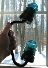 New ListingTwo Hemingray No 12 Blue Glass Insulators On Double Bracket Pat'D 1893 Repurpose