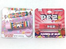 Set of 2 - PEZ Strawberry Flavor & SMARTIES Chery Flavor Lip Balm 0.12 oz ea