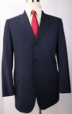 Isaia for Paul Stuart Blue Striped Side Vented Three Button Wool Suit 40 R 34 31