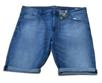 Mens PLUS size 46 / 117  MR BIG   BLUE denim  SHORTS Stretch  NEW  RRP$35  (4XL)