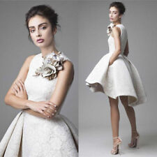 2018 Ladies Lace Wedding Dress Sleeveless High Low Wedding Dresses Short A-Line