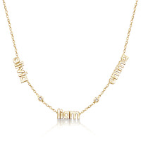 Personalized Handmade 14K Gold Or Sterling Silver 3 Name & 2 Diamonds Necklace