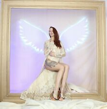 More details for neon sign neon bar light large white angel wings selfie wall art