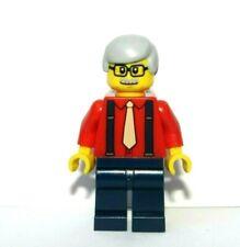 LEGO Old Man Minifigure Granda Grandad Grey Hair Glasses Red Shirt Tie Braces