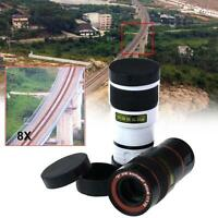 1x Universal 8x Zoom Magnifier Camera Lens For Mobile Phone Telescope Clip-On Jz