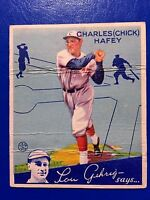 1934 GOUDEY #34 CHARLES CHICK HAFEY REDS RC (see wrinkles) (The Shortstop)
