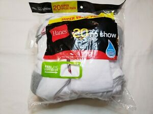 Hanes Mens White No Show Socks 20 Pack Size 6-12 Soft Heel Toe Cushioning Comfor