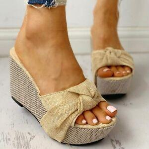 Women Bow Tie Slip on Platform Summer Sandals Wedges High Heels Shoes Flip Flops