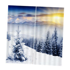 2 Panels 3D Winter Printed Thermal Blackout Window Curtains Treatments