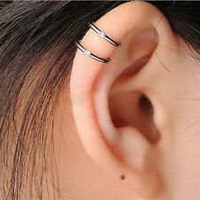 Silver Ear Cuff Wrap Stud 2/3 Row Helix Cartilage Earrings Clip on Piercing
