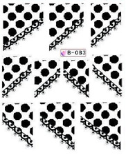 Nail Art Water Decals Stickers Transfers Black White French Tip (B083)