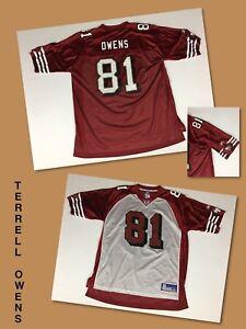 Men's TERRELL OWENS San Francisco 49ers Red & White Reebok On-Field Jersey XL