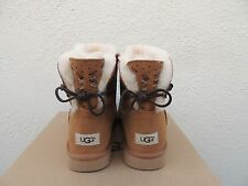 UGG ADORIA TEHUANO CHESTNUT MINI BAILEY BOW SHEEPSKIN BOOTS, US 8/ EUR 39 ~ NIB