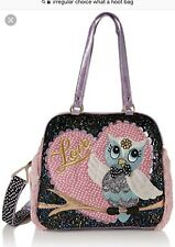 Womens Irregular Choice What A Hoot Pink Black Large Shoulder Handbag One Size