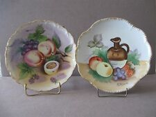 TWO VINTAGE FRUIT HANDPAINTED PLATES Artist signed Wall hanging
