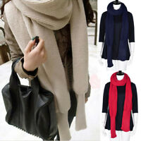 Women Winter Warm Knit Wool Scarf Fashion Long Sleeve Tops Wrap Scarves Shawl A