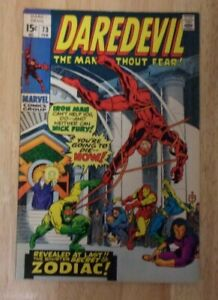 DAREDEVIL #73 1971 SHARP VF IRON MAN,MADAME MASQUE,THE ZODIAC WOW !!!