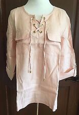 NWT Women's Pink Champagne Roll Tab 3/4 Sleeve Ellen Tracy Linen Tunic Large