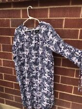 Mossimo Women's Blue Floral Long Sleeve Keyhole Back Dress New with Tags - Large