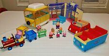 Peppa Pig Toy Lot- School House Playset, 8 Figures, Train,  Cars & Accessories