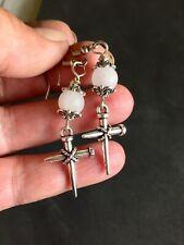 Nail Cross Earrings ,with White Quartz And Surgical Steel Hook