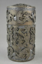 chinese old copper plating silver hand-carved dragon phoenix box