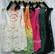 Women's Blue Floral Sleeveless Vintage Crochet Knit Lace Vest Tank Top Shirt-L