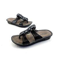 Alegria Pisa Thong Sandals Black Patent Slip On Shoes Women's Size 38 / 7.5-8 US