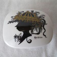 Rosenthal Deckeldose mit  schwarz/gold Motiv Frau mit Hut signiert Wiinblad