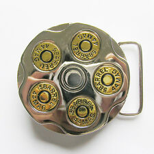 GUN REVOLVER MAGNUM .44 BULLET SHELL 3D METAL BELT BUCKLE BIKE BIKER TRUCKER