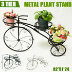 Metal Plant Stand Bicycle Shape Vintage Style Garden Flower Pot Display Outdoor