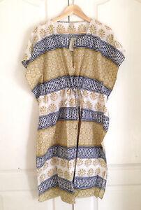 Ann Taylor LOFT Midi Sundress Petite XSP SP Kaftan Tan White Striped Tie Waist