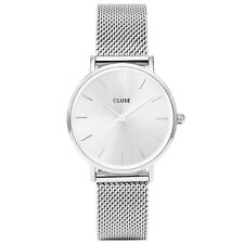 Cluse Ladies Minuit Stainless Steel Watch, Mesh Strap, Silver Dial, CL30023
